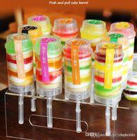 NEW Food Grade Kunststoff-Push-Up Pop Container Push-Kuchen-Pop-Kuchen-Behälter für Partydekoration runder Form-Werkzeug Großhandel Einzelhandel