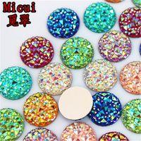 Diamantes de imitación Micui 100PCS 16mm Resina diamantes de imitación de cristal AB vuelta espalda plana Cuentas de Scrapbooking La joyería Accesorios ZZ32