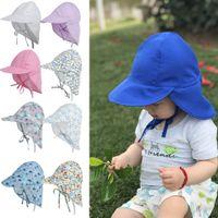 여름 유아 어린이 아기 자외선 보호 수영 비치 모자 귀여운 만화 고래 꽃 인쇄 조절 가능한 야외 태양 모자와 목 플랩