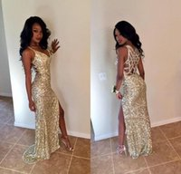 Gold Sequins Long Prom Dresses Sexy Thigh High Slits Magneti...