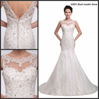 Abiti da sposa Mermaid Applique Lace Bead Abiti da sposa Sheer Neck Abito da sposa Immagini reali Sexy Beach Plus Size Abiti da sposa con Butto