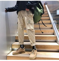 Mens Ins Fashion Straight Cargo Pants Casual Loose Solid Pants Hip Hop Male Long Pants M-XXXL