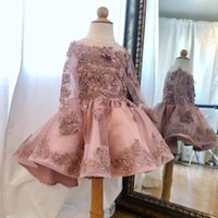 Dusty Pink Beaded Knee Length Flower Girls Dresses with Long Sleeve Appliques Pearls Toddler Pageant Dress Puffy Skirt Kid Prom Party Gowns