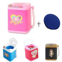 Mini simulación niños juegos de simulación eléctrica linda soplo de polvo cosmético Lavadora pinceles de maquillaje Cleaner Tool Lavadora 3pcs / lot