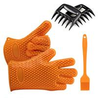 BBQ-Werkzeug-Set enthält 1 Paar hitzebeständige Silikon-BBQ-Grillhandschuhe 2 Fleischschredder-Krallen 1 Bastelbürste