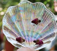Блюдо Радуга Shell Dazzle цвет Shell Shaped Plate Glass Wedding Посуда Украшение Фруктовый десерт Блюда торт Тарелка для партии GGA3207