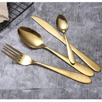 Gold Cutlery Set Colher Forquilha Faca Colher Gelado Ouro Aço Inoxidável Alimentos Ocidental Talheres Cutelaria EEE1197