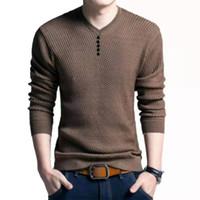 ZXK Mode Hommes Designer Pulls Hommes 2019 Vêtements de créateurs de luxe Solide Couleur à encolure en V à manches longues laine Blended Pull