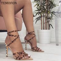 Elbise Ayakkabı Temofon Kadın Topuklu Seksi Bayanlar Pompaları Peep Toe Yüksek Leopar Yaz Gladyatör Sandalet Stiletto HVT1215