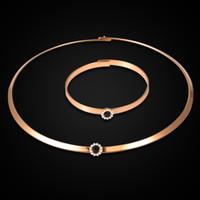 Neue Ankunft Einfache Kragen Armband Set 18 Karat Gold Choker Kragen Halskette Schmuck Set Großhandel Im Drop Shipping