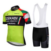 2020 Yaz Yeni Euskadi Bisiklet Jersey Kısa Kollu Set Maillot Ropa Ciclismo Üniforma Hızlı Kuru Bisiklet Giyim MTB Döngüsü Giysileri