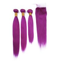 직선 브라질의 인간의 머리카락 순수 보라색은 버진 머리카락과 함께 보라색 컬러 4x4 프론트 레이스 Clsoure 3PCS 묶어 4Pcs 많은