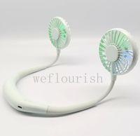 Toptan Eller-Serbest Asılı USB Şarj Mini Taşınabilir Işık Yeşil LED Boyun Fan