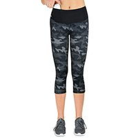 Yoga Pants Camouflage Hip- up leggings for fitness Calf- Lengt...