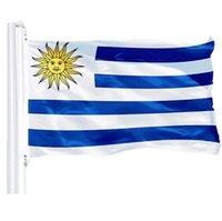 Уругвай Флаг 0.9mx1.5m Дешевые Оптовая Полиэстер Шелкография печать Ярких флагов Цвет Страновой Fo Уругвай, бесплатная доставка