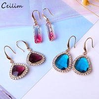 Geometric Blue White Pink Crystal Earrings for Women 2019 New Gold Color Long Drop Earring Statement Wedding Jewelry Gift