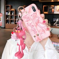 2018 Lovely Pink Panther Phone Cover für IPhone X XS MAX XR mit Armband Wrist Strap Shell für IPhone 8 7 6s 6 Plus Rückseite