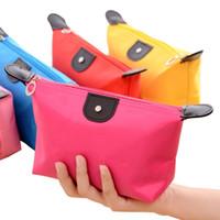 Semplice moda Dumpling toilette Cosmetic bagagli Candy Bag signore di colore del sacchetto di nylon impermeabile di viaggio Dumpling Forma trucco Borse ST069