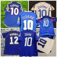 Retro 1996 1998 2000 2002 2004 2006 Futebol ZIDANE GIVASH HENRY Djorkaeff França camisa casa longe de futebol S-2XL