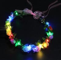 Mulheres meninas festa de casamento coroa flor headband conduziu luz de cabelos guirlanda férlacia de cabelo brilhante