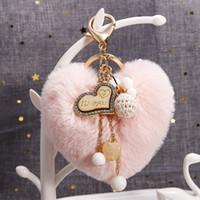 Kalp Kürk Kolye Anahtarlıklar Anahtarlık Topu Şekli Opal Aşk Boncuk Kadın Kızlar Çanta Charms Takı Aksesuarları Moda Araba Anahtarlık Yüzükler Tutucu