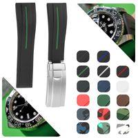 고무 손목 시계 스테인레스 스틸 GMT Oysterflex 팔찌 시계 남자 20mm 레드 블랙 블루 레드 브라운 버클 시계 밴드 스트랩을 접어