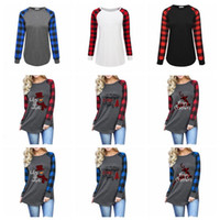Plaid Plus Size T- shirts Long Sleeve Tops Girls Christmas O ...