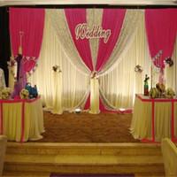 6 متر طول الأحمر الفوشيه سوجس الزفاف خلفية الستار الترتر الحدث الاحتفال المرحلة ستائر خلفية الجدار الديكور