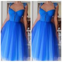 레이스 아플리케 라인 짧은 댄스 파티 드레스 부드러운 얇은 명주 그물 2020 공식적인 동창회 파티 가운 저렴한 Vestidos 드 야회