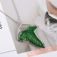 2019 Trendy The Hobbit Vintage Elf Collana a foglia verde ciondolo Pin Signore degli anelli Ne (cklace) all'ingrosso