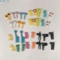 الكرتون الحيوان الأطفال الفاكهة شوكة الجملة 10 قطع مجموعة واحدة بينتو كعكة شوكة الإبداعية الغذاء الصف البلاستيك