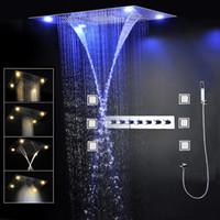 바디 제트 세트 욕실 LED 샤워 수도꼭지 600 * 800mm 천장 SPA 미스트 폭포 강우 샤워 헤드 세트 온도 조절 믹서 럭셔리 샤워