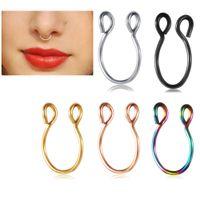Nasello in acciaio inox anelli di setto falso Hoop narice piercing trago orecchino piercing gioielli 100pcs 5 colori