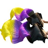 مرحلة ارتداء 1 زوج 100٪ الحرير الرقص مراوح أداء الدعائم 180x90 سنتيمتر للجنسين الرقص الشرقي الخيزران أضلاعه طويل أسود + الأرجواني + الأصفر