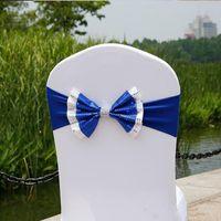 Блестка свадебный стул крышка пояса эластичный спандекс стул группа лук с пряжкой для свадьбы событие партии аксессуары