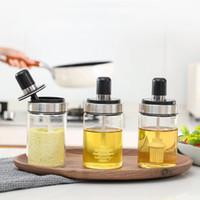 الزجاج التوابل مربع مع ملعقة توابل 3 نمط زجاجة الكاتشب زجاجة النفط وعاء العسل Deasoning جرة أداة مطبخ XD23398