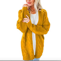 Women Autumn Winter Knitted Sweater Cardigan Yellow Solid Sw...