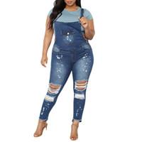 Mulheres Casual Calças Denim Bib Magro Macacão Jeans Straps Demin Calças Buraco Zipper Jumpsuit # 0225