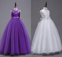 Rendas princesa Flor Meninas Vestidos 2019 da festa de aniversário vestido de apliques Crianças Bola novo Stock Branco Roxo Vestidos Crianças vestidos baratos MC2080