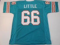 Cheap Retro custom Sewn Stitched #66 Larry Little Teal MITCH...
