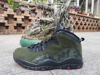 New 10 X olive green dark black men basketball shoes sports ...