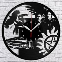 Supernatural Vinil Kayıt Duvar Saati Dekor Fan Ev Dekorasyonu El Yapımı Sanat Kişilik Hediye (Boyut: 12 inç, Renk: Siyah)