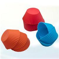 8 색 3 인치 실리콘 컵 케잌 라이너 금형 머핀의 경우 둥근 모양의 컵 케이크 금형 SGS 케이크 베이킹 팬 Bakeware 과자 도구 VT1353
