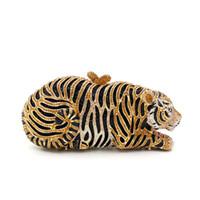 Dgrain Золото Черной Женщины Кристалл сцепление сумка Tiger вечер кошелек Minaudiere Сумочка Свадьбы сумка Малого Bridal цепь плечо мешок ужин