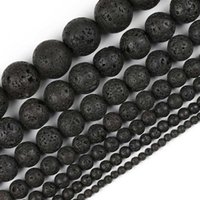 Bilezik Bileklik DIY Takı Yapımı Charms Aksesuar 45beads / lot için Siyah Lav Taş Boncuk Doğal Taş Volkanik Yuvarlak Gevşek Boncuk Fit