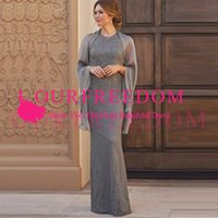Cheap Floor Length 2019 Mother Of the Bride Dresses Long Sleeve Lace Beaded Wedding Guest Dresses Jewel Neck Evening Gown Formal Women Wear