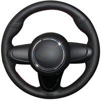 Черный Натуральный кожаный руль автомобиля крышка колеса для Mini Coupe 2016 года