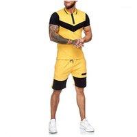 Нагрудные шеи с коротким рукавом спортивный костюм Повседневный Открытый Фитнес Спорт Цвет Matching Tshirt Шорты Colorblock Zipper Тонкий Set Summer Men