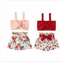 Baby kläder sätter barn flickor stor blomma spets-up topp ruffle shorts kostymer barn sommar mode suspender vest bowknot byxor passar byp812