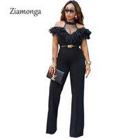 Ziamonga 2018 новый женский комбинезон с плеча элегантные комбинезоны женщин плюс размер комбинезон женские комбинезоны оборками женский комбинезон Y19060501